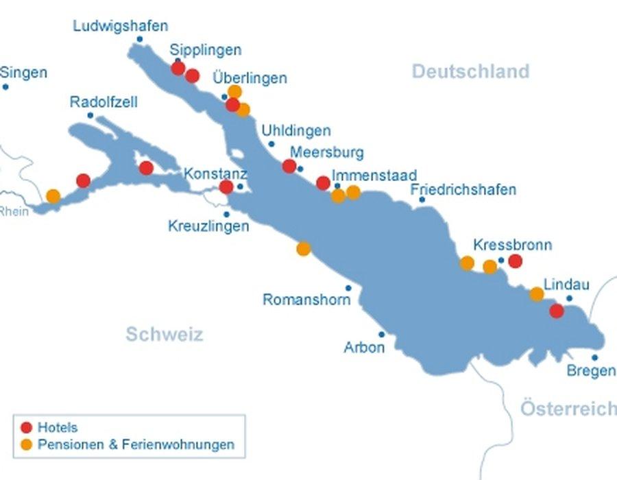 Bodensee Karte Schweiz.Unterkunfte Am Bodensee Bodensee Seen De